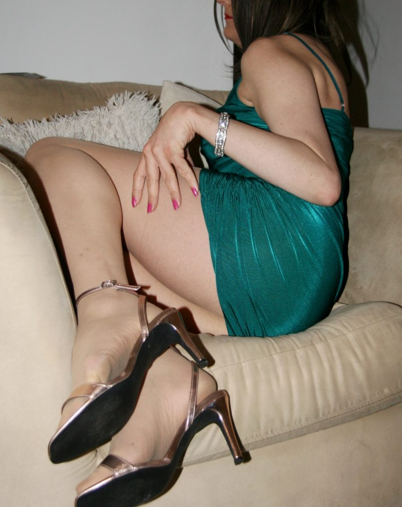 Gay sissy slut in clingy green dress