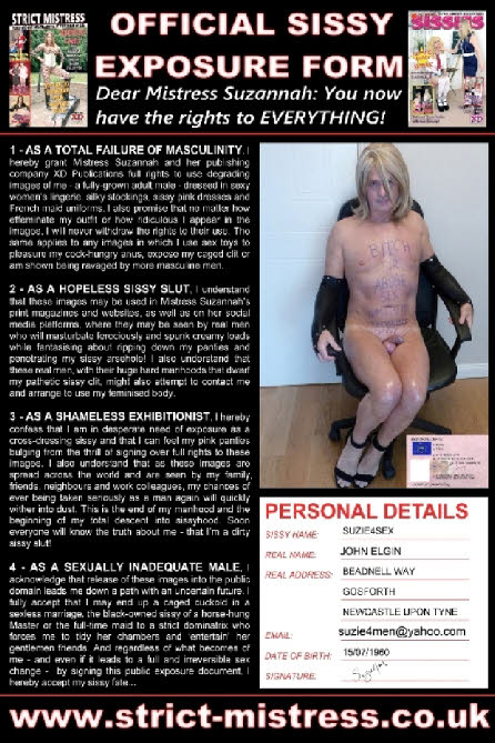Sissy Suzie's officiial exposure form