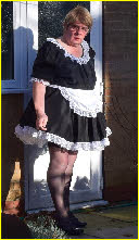 Sissy Chantal in classic black-and-white French maid uniform
