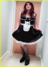 Sissy maid Mischa looking gay in his French maid uniform